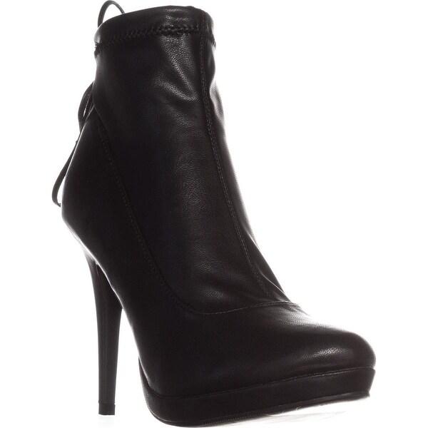 TS35 Brunna Almond-Toe Platform Ankle Boots, Black