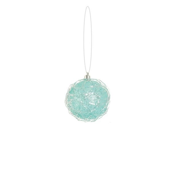 "3.25"" Snowy Winter Ice Blue Glittered Shatterproof Christmas Ball Ornament"