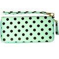 Polka Dot Wristlet Clutch Wallet With Wrist Strap, Mint Green - Medium - Thumbnail 0