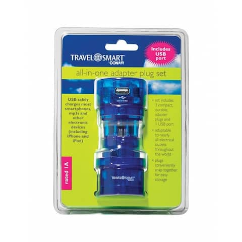 Conair M700E Travel Smart All-In-One Adapter, Plastic, Blue