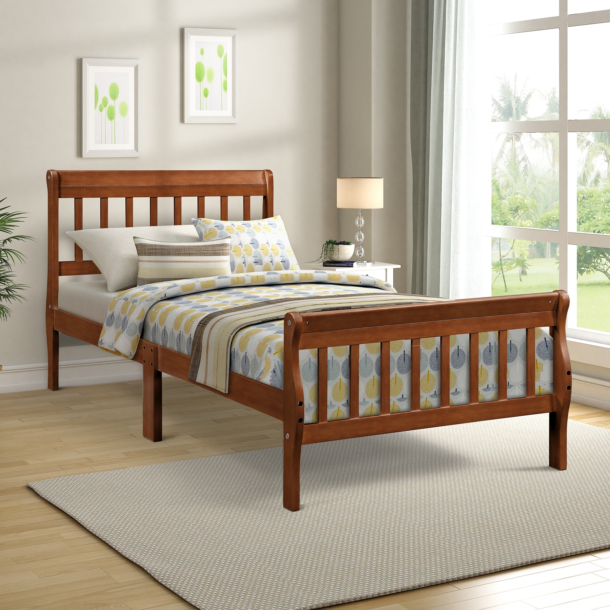 Wood Platform Bed Twin Bed Frame Panel Bed Foundation Sleigh Bed On Sale Overstock 31757921