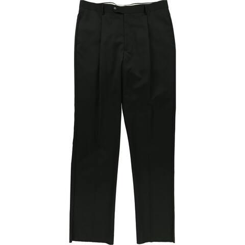Jones New York Mens Solid Dress Pants Slacks, Black, 37W x UnfinishedL - 37W x UnfinishedL