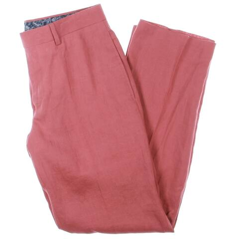 Lauren Ralph Lauren Mens Neville Dress Pants Linen Classic Fit - Red
