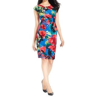 Connected Apparel Womens Petites Wear to Work Dress Ruched Floral Print