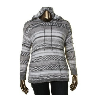 Oh MG! Womens Juniors Striped Mixed Knit Hooded Sweater