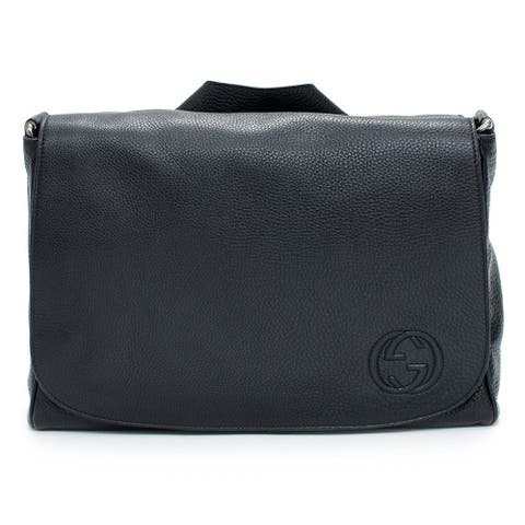 Gucci Unisex Black Soho Messenger Interlocking G Logo Leather Diaper Bag 356521 1000 - One Size
