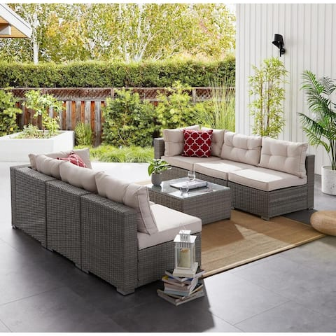 BestLiving 7 Piece Sofa Seating Group with Cushions, Gray