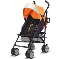 Costway Folding Lightweight Baby Toddler Umbrella Travel Stroller w/ Storage Basket - Orange