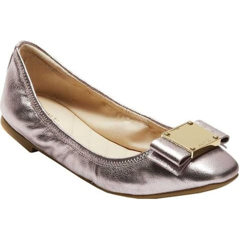 1af93113994 Cole Haan Women s Tali Modern Bow Ballet Flat Coral Almond Crackle Metallic  Leather