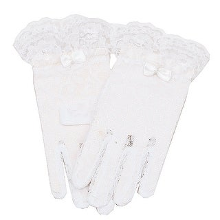 Angels Garment Baby Girls White Lace Covered Bow Flower Girl Gloves