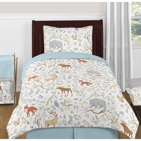 Woodland Animal Toile Collection Boy or Girl 4-piece Twin-size Comforter Set - Grey Green Brown Bear Deer Fox Forest Animals