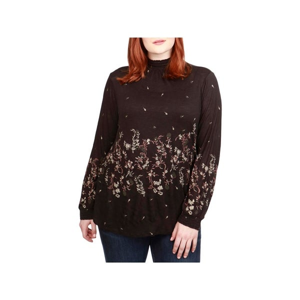 Lucky Brand Womens Plus Pullover Top Bishop Sleeves Mock Neck