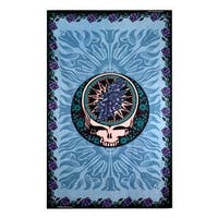 Grateful Dead Blue Steal Your Face Tapestry with Roses Hippie Hanging Wall Art