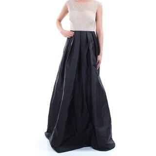 ADRIANNA PAPELL $299 Womens New 1126 Black Beaded Cap Sleeve A-Line Dress 2 B+B