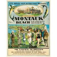 USA - Montauk Beach - (c. 1929) - Vintage Ad (100% Cotton Towel Absorbent)