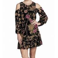 Eliza J Women's Floral Velvet Cold-Shoulder Shift Dress