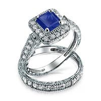 Bling Jewelry .925 Silver Blue Princess Cut CZ Engagement Ring Set