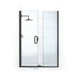 """Coastal Shower Doors HC43IL.66-C  Illusion Series 43"""" x 66"""" Frameless Shower Door and Inline Panel with C-Pull Handle and Clear"""