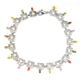 White Cubic Zirconia Sterling Silver Round Link Bracelet by Orchid Jewelry