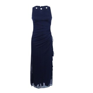 Betsy & Adam Women's Petite Embellished Keyhole Ruched Gown - Navy