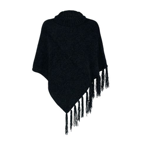 Britt's Knits Women's Cowl Neck Poncho with Fringe - one size