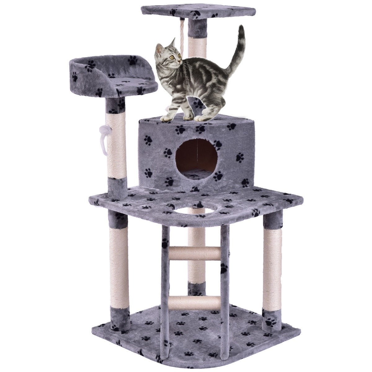 """Gymax 48"""" Cat Tree Pet Kitten Play House Tower Condo Scratching Post w Rope and Ladder – grey with dog paw printed"""