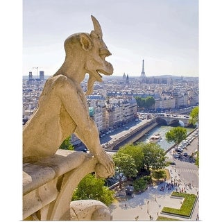 """Gargoyle, View from Notre Dame, Paris"" Poster Print"