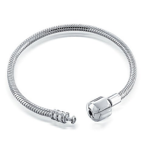 Bling Jewelry Snake Chain Bracelet Barrel Clasp for Bead Charm .925 Sterling Silver