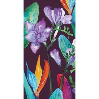 Pack of 192 Green and Purple Tropical Blooms 3-Ply Party Napkins 8