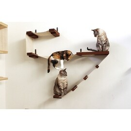 Deluxe Cat Playplace - Handcrafted Canvas and Wood wall-mounted shelving