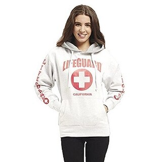LIFEGUARD Officially Licensed Ladies California Hoodie Sweatshirt Apparel For Women, Teens and Girls (Medium, White)
