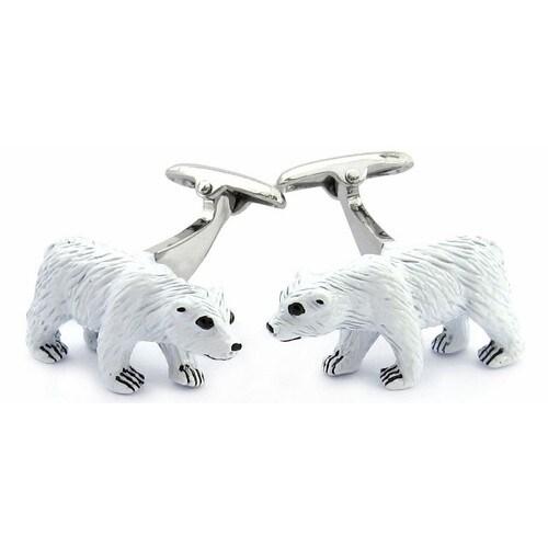 Polar Bear Painted Cufflinks Animal