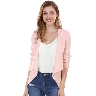 Unique Bargains Women's Turn Down Collar Long Sleeves Front Opening Blazer - Pink