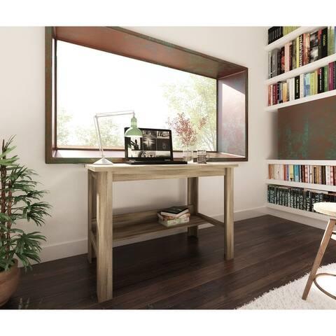 Transitional Farmhouse Desk with Shelf