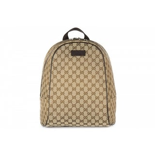 GUCCI Women's Rucksack Backpack Travel GG Canvas - Brown/Beige - 13.78x11.81x5.12
