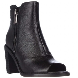 Kenneth Cole Lacey Peep Toe Double Zip Ankle Booties - Black
