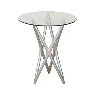 """GuildMaster 7116553  15"""" Wide Mahogany Accent Table - Silver Leaf"""