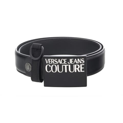 Versace Jeans Couture Black Square Buckle Logo Adjustable Leather Belt with Keyring