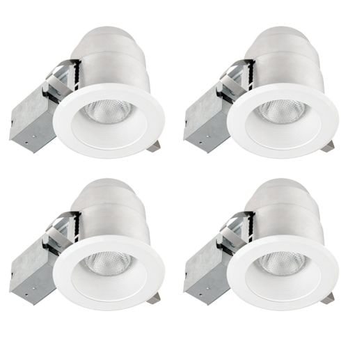 Globe Electric 91014 1 Light Recessed Lighting Kit (4 Pack) Includes Trim, Housing / Can, Patented Clip System and Electrical