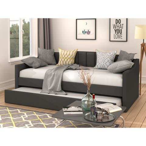 Harper & Bright Designs Upholstered Twin Daybed with Trundle