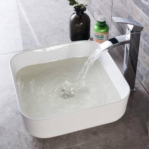 Kichae Modern Square Above Counter White Porcelain Ceramic Bathroom Vessel Sink