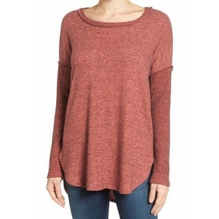 Bobeau NEW Red Womens Size Small PS Petite Rib-Sleeves Pullover Sweater