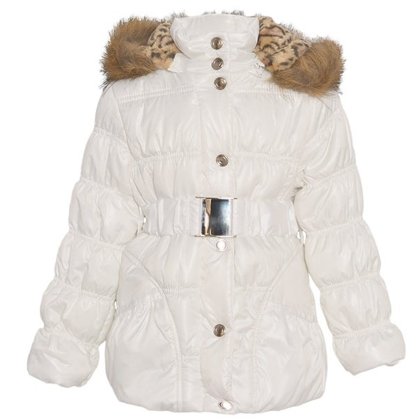 a4f4fe99c0e9 Shop Urban Republic Little Girls White Fur Trim Belted Hooded Puffer ...