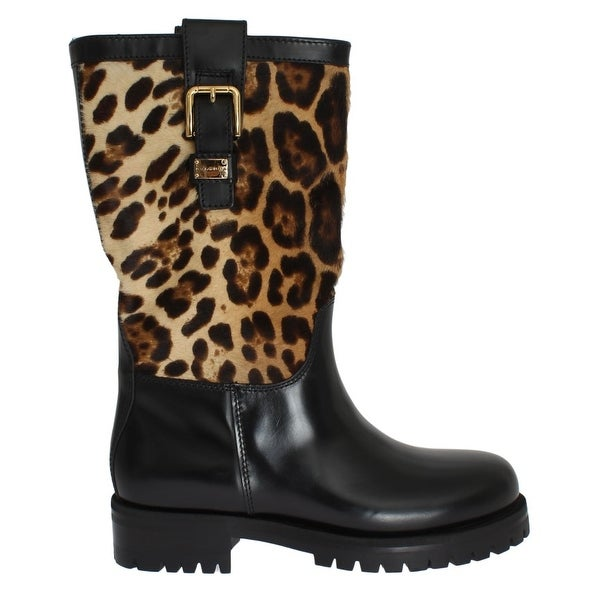 Dolce & Gabbana Black Leather Leopard Print Hair Boots