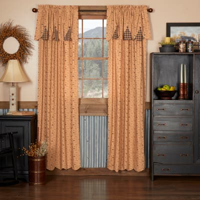 Maisie Panel with Attached Scalloped Layered Valance Set of 2 84x40 - Panel 84x40