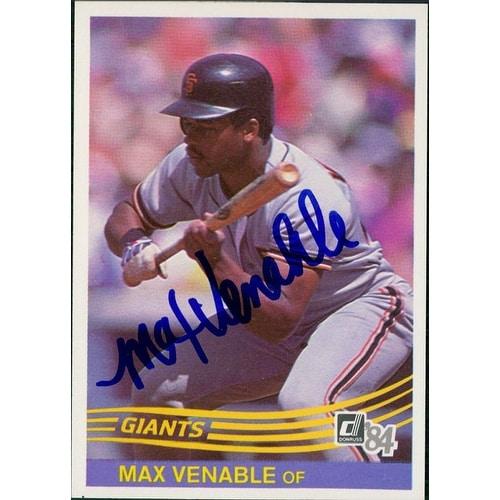 Signed Venable Max San Francisco Giants 1984 Donruss Baseball Card Autographed