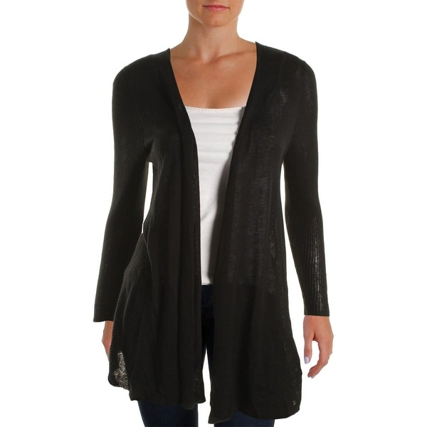 Avec Womens Cardigan Sweater Linen Ribbed Trim