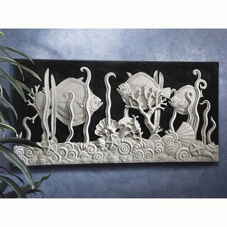 AQUARIUM IN BLACK AND WHITE FRIEZE DESIGN TOSCANO wall sculpture fish aquatic