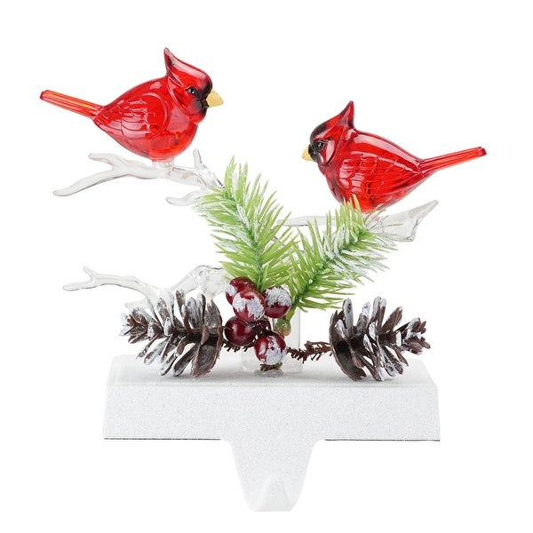 """6.8"""" Red Cardinals Battery Operated Christmas Stocking Holder with LED Lights"""