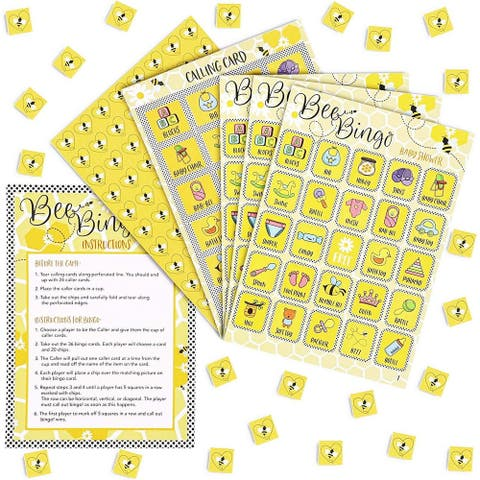Bumblebee Baby Shower Bingo, Party Game Cards Honey Bee Stickers for 36 Guests